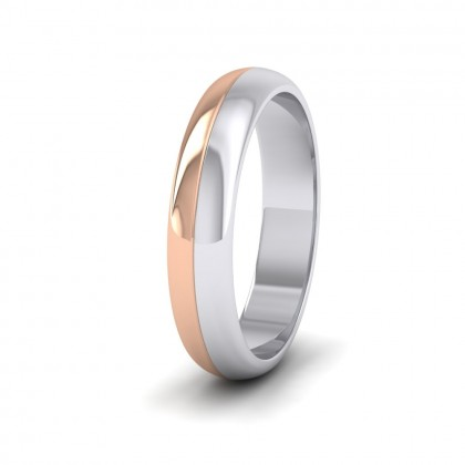 Half And Half Two Colour 9ct White And Rose Gold 4mm Wedding Ring