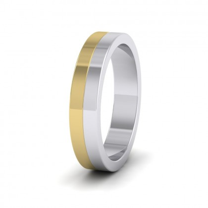 Half And Half Two Colour 9ct White And Yellow Gold 4mm Flat Wedding Ring