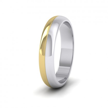 Half And Half Two Colour 9ct White And Yellow Gold 4mm Wedding Ring