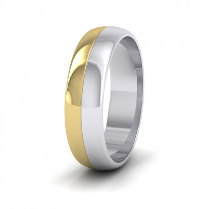 Half And Half Two Colour 9ct White And Yellow Gold 6mm Wedding Ring