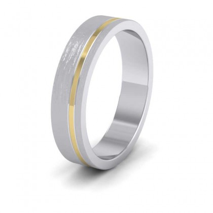 Asymmetric Two Colour 950 Platinum And 18ct Yellow Gold 5mm Wedding Ring
