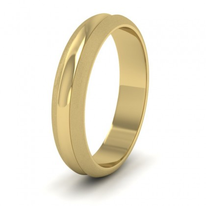 Bullnose Groove Pattern 9ct Yellow Gold 4mm Wedding Ring