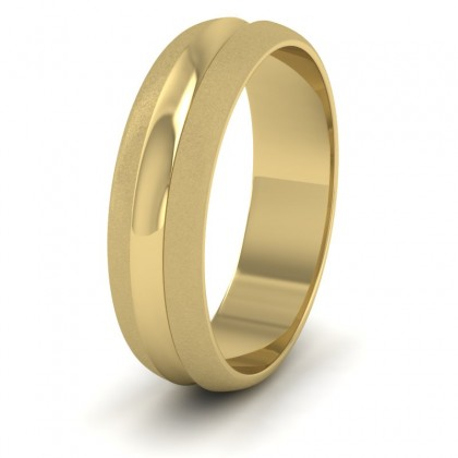 Bullnose Groove Pattern 9ct Yellow Gold 6mm Wedding Ring