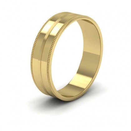 Millgrain And Line Pattern 9ct Yellow Gold 6mm Flat Wedding Ring