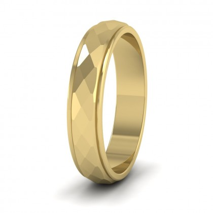 Facet And Line Pattern 9ct Yellow Gold 4mm Wedding Ring