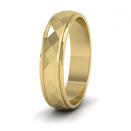 Facet And Line Pattern 9ct Yellow Gold 5mm Wedding Ring
