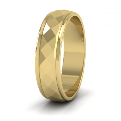 Facet And Line Pattern 9ct Yellow Gold 6mm Wedding Ring
