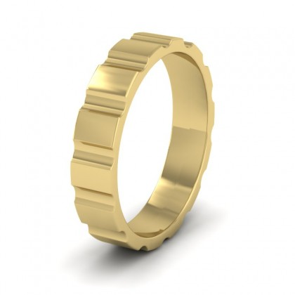 Groove Pattern Flat 9ct Yellow Gold 4mm Flat Wedding Ring