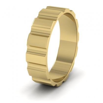 Groove Pattern Flat 9ct Yellow Gold 6mm Flat Wedding Ring