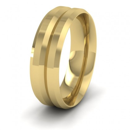 Bevelled Line Patterned 9ct Yellow Gold 7mm Wedding Ring
