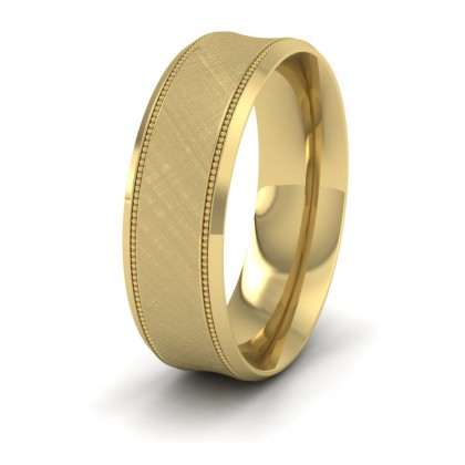 Hatched Centre And Millgrain Patterned 9ct Yellow Gold 7mm Wedding Ring