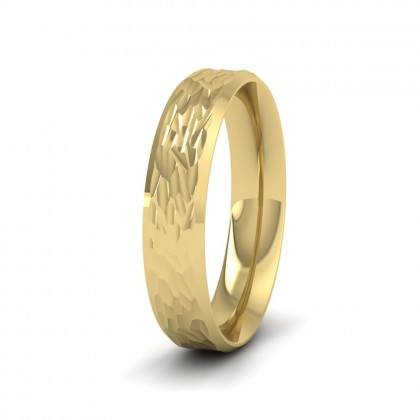 Bevelled Edge And Hammered Centre 9ct Yellow Gold 4mm Wedding Ring