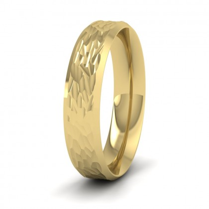 Bevelled Edge And Hammered Centre 9ct Yellow Gold 5mm Wedding Ring