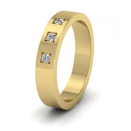 Three Diamonds With Square Setting 9ct Yellow Gold 4mm Wedding Ring