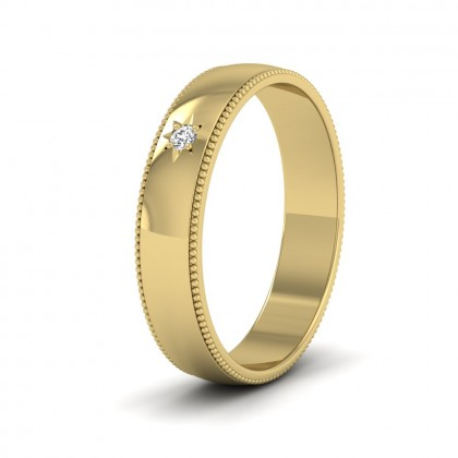 Millgrained Edge And Single Star Diamond Set 14ct Yellow Gold 4mm Wedding Ring