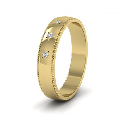 Millgrained Edge And Three Star Diamond Set 14ct Yellow Gold 4mm Wedding Ring