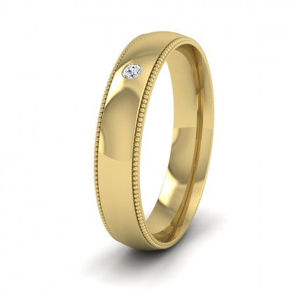 Single Flush Diamond Set And Millgrain Edge 14ct Yellow Gold 4mm Wedding Ring