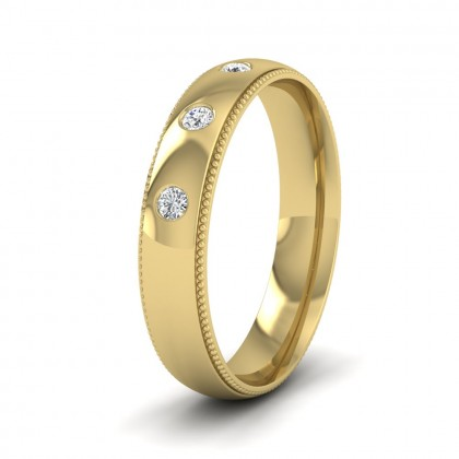 Diamond Set And Millgrain Edge 9ct Yellow Gold 4mm Wedding Ring
