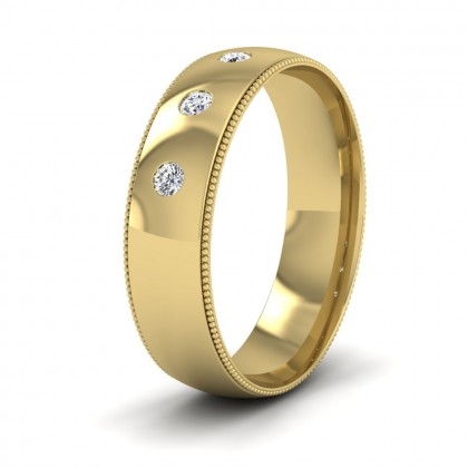 Diamond Set And Millgrain Edge 9ct Yellow Gold 6mm Wedding Ring