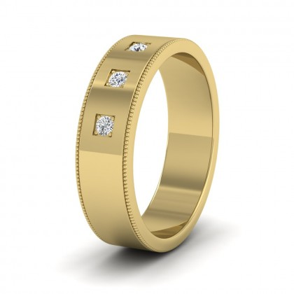 Three Diamonds With Square Setting 9ct Yellow Gold 6mm Wedding Ring With Millgrain Edge