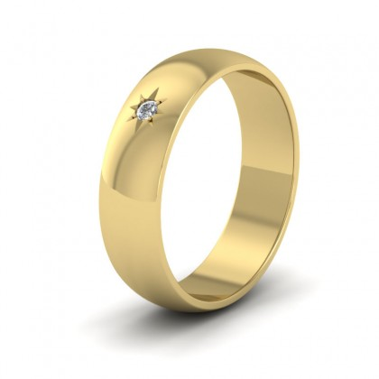 Single Star Diamond Set 14ct Yellow Gold 6mm Wedding Ring