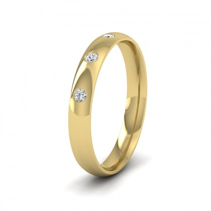 Three Diamond Flush Set 14ct Yellow Gold 3mm Wedding Ring