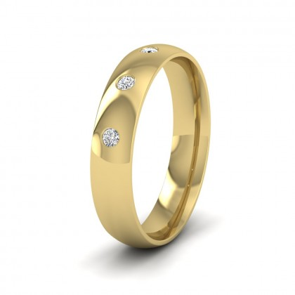 Three Diamond Flush Set 9ct Yellow Gold 4mm Wedding Ring