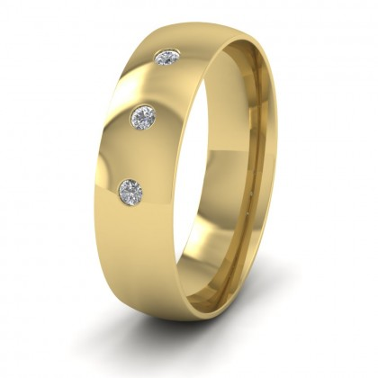 Three Diamond Flush Set 14ct Yellow Gold 6mm Wedding Ring