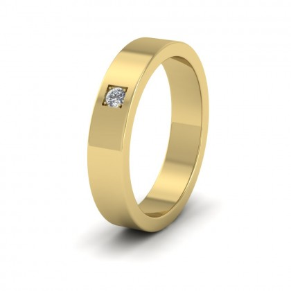 Single Diamond With Square Setting 18ct Yellow Gold 4mm Wedding Ring