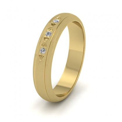 Three Diamond Set 9ct Yellow Gold 4mm Wedding Ring With Lines