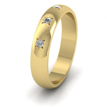 Three Star Diamond Set 18ct Yellow Gold 4mm Wedding Ring