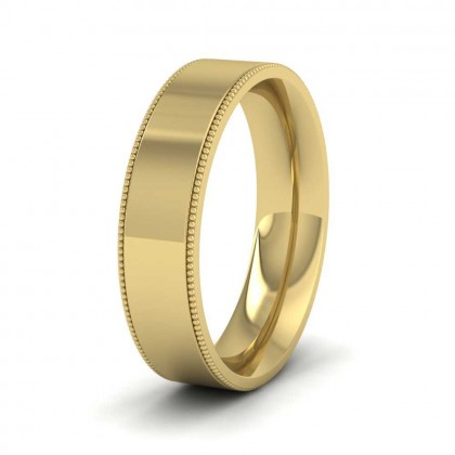 Millgrain Edge 9ct Yellow Gold 5mm Flat Comfort Fit Wedding Ring