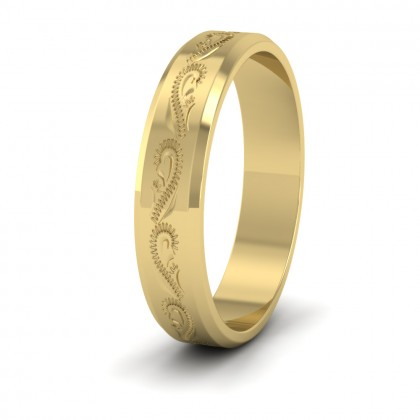 Engraved 9ct Yellow Gold 4mm Flat Wedding Ring With Bevelled Edge
