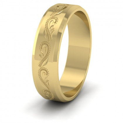 Engraved 9ct Yellow Gold 6mm Flat Wedding Ring With Bevelled Edge