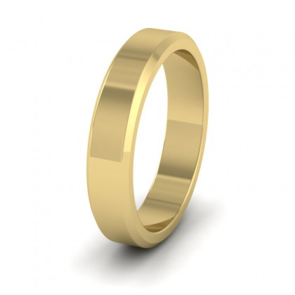 Bevelled Edge 14ct Yellow Gold 4mm Wedding Ring