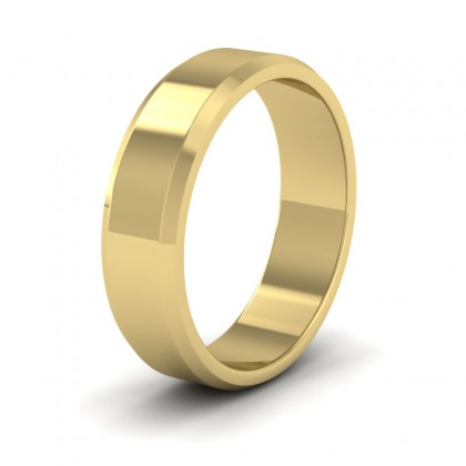 Bevelled Edge 9ct Yellow Gold 6mm Wedding Ring