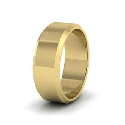 Bevelled Edge 9ct Yellow Gold 8mm Wedding Ring