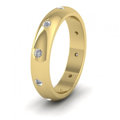 Ten Diamond Set Flush 9ct Yellow Gold 4mm Wedding Ring