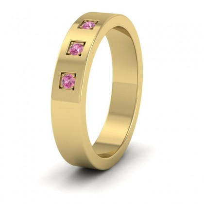Three Pink Sapphires With Square Setting 9ct Yellow Gold 4mm Wedding Ring