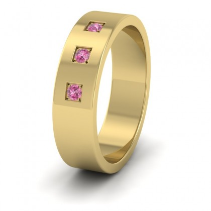 Three Pink Sapphires With Square Setting 9ct Yellow Gold 6mm Wedding Ring