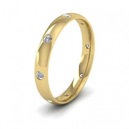 Eight Diamond Set 14ct Yellow Gold 3mm Wedding Ring