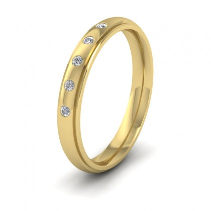 Line Pattern And Five Diamond Set 9ct Yellow Gold 3mm Wedding Ring