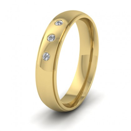 Line Pattern And Three Diamond Set 14ct Yellow Gold 5mm Wedding Ring