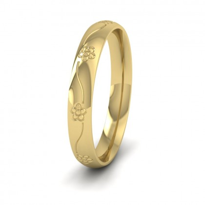 Engraved Flower 9ct Yellow Gold 3mm Wedding Ring