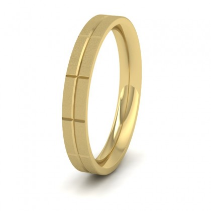 Cross Line Patterned 14ct Yellow Gold 3mm Flat Comfort Fit Wedding Ring