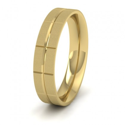 Cross Line Patterned 9ct Yellow Gold 5mm Flat Comfort Fit Wedding Ring