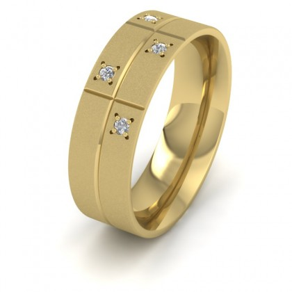 Cross Line Patterned And Diamond Set 9ct Yellow Gold 7mm Flat Comfort Fit Wedding Ring