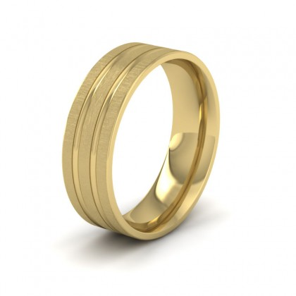 Double Groove Pattern 9ct Yellow Gold 7mm Wedding Ring