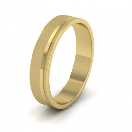 Assymetric Line Pattern 14ct Yellow Gold 4mm Flat Wedding Ring