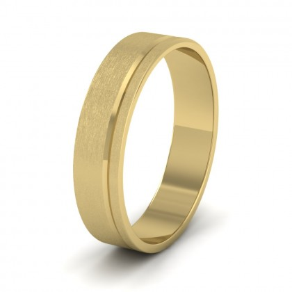 Asymmetric Line Pattern 9ct Yellow Gold 5mm Flat Wedding Ring